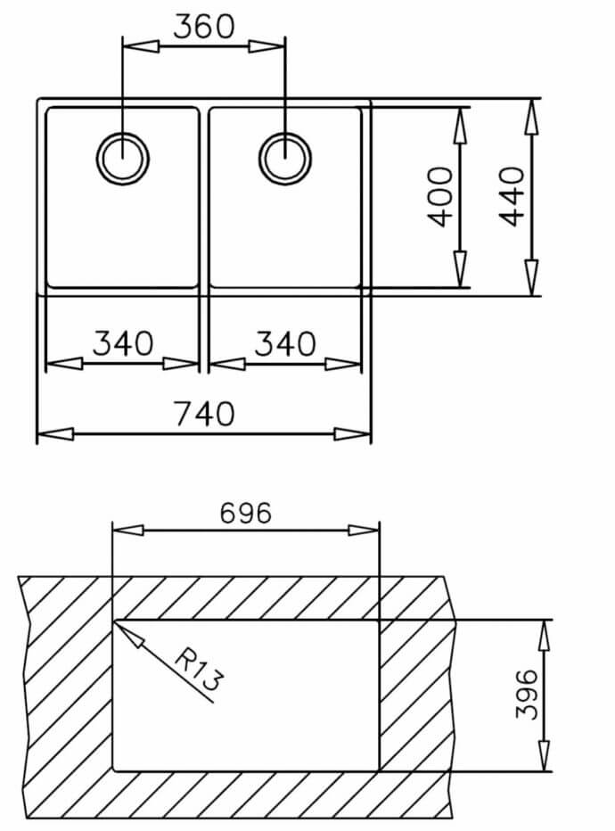TEKA BE LINEA 740 2C R15 (74X44) 2