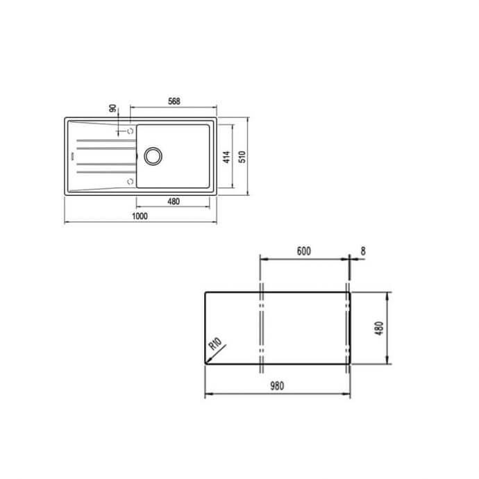 TEKA ΝΕΡΟΧΥΤΗΣ TEGRANITE STONE 60 L-TG 1B 1D WHITE (100X51) 2