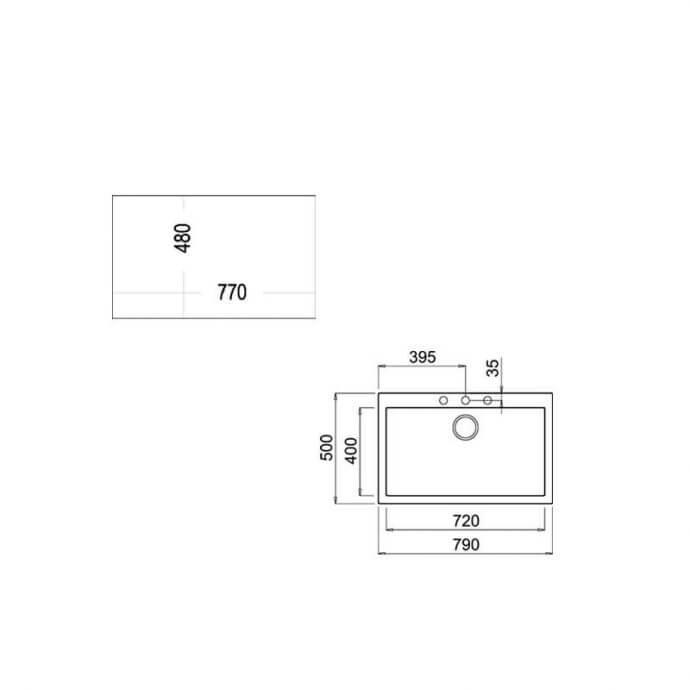 TEKA ΝΕΡΟΧΥΤΗΣ TEGRANITE FORSQUARE 72.40 TG STONE GREY (79X50) 2