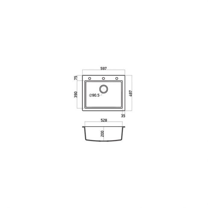 SANITEC ULTRA GRANITE No 809 1B GRAFITE (60X50) 2