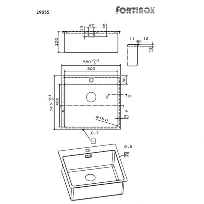 FORTINOX SQUADRO ΕΝΘΕΤΟΣ No 29055 ΛΕΙΟ (55x50,5) 2