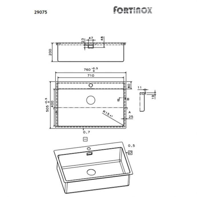 FORTINOX SQUADRO ΕΝΘΕΤΟΣ No 29075 ΛΕΙΟ (76x50,5) 2