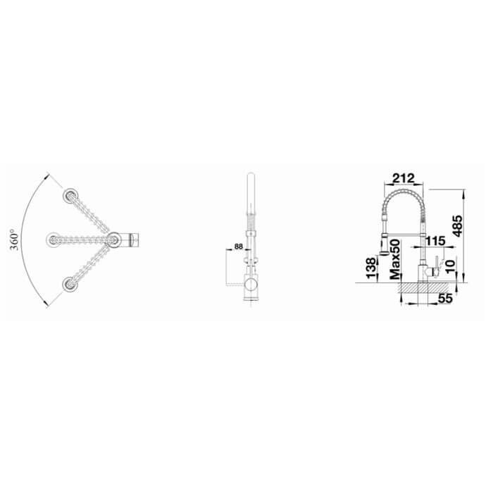 BLANCO ΜΠΑΤΑΡΙΑ ΚΟΥΖΙΝΑΣ MASTER-S SEMI-PROFI STAINLESS STEEL FINISH 3