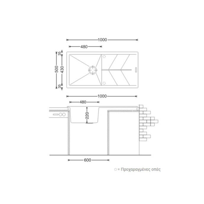 MACART ΓΡΑΝΙΤΕΝΙΟΣ ΝΕΡΟΧΥΤΗΣ ΕΝΘΕΤΟΣ STATUS D-100 L COLORADO (ΕΚΡΟΥ) 100x50cm 3