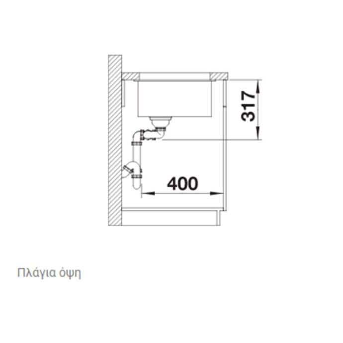 BLANCO ΓΡΑΝΙΤΕΝΙΟΣ ΝΕΡΟΧΥΤΗΣ ΥΠΟΚΑΘΗΜΕΝΟΣ SUBLINE 430/270-U SILGRANIT PURADUR TARTUFO (75,5x46) 6