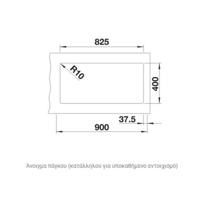 BLANCO ΓΡΑΝΙΤΕΝΙΟΣ ΝΕΡΟΧΥΤΗΣ ΥΠΟΚΑΘΗΜΕΝΟΣ SUBLINE 480/320-U SILGRANIT PURADUR CHAMPAGNE (85,5x46) 5