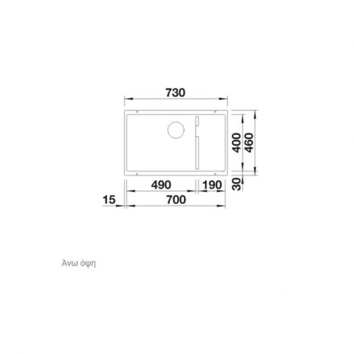 BLANCO ΓΡΑΝΙΤΕΝΙΟΣ ΝΕΡΟΧΥΤΗΣ ΥΠΟΚΑΘΗΜΕΝΟΣ SUBLINE 700-U LEVEL SILGRANIT PURADUR ANTHRACITE (73x46) 4