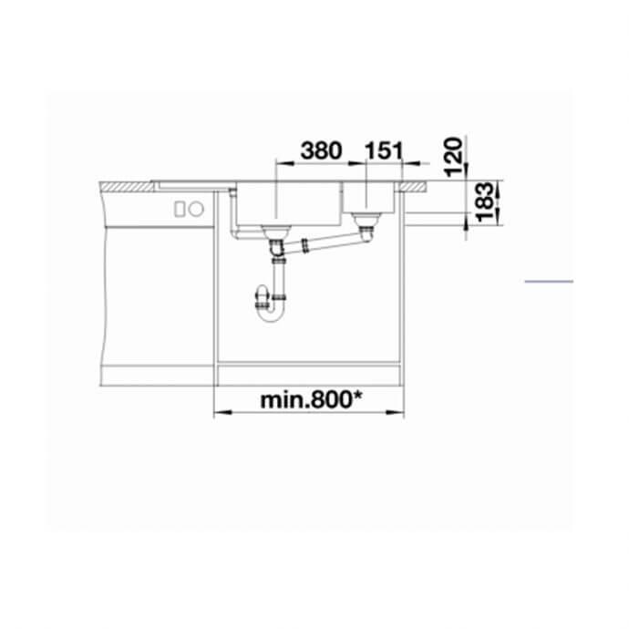 BLANCO ΓΡΑΝΙΤΕΝΙΟΣ ΝΕΡΟΧΥΤΗΣ ΕΝΘΕΤΟΣ BLANCODELTA II SILGRANIT PURADUR WHITE (105,7x57,5) 6