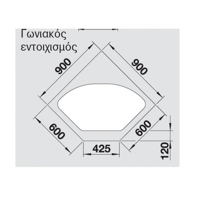 BLANCO ΓΡΑΝΙΤΕΝΙΟΣ ΝΕΡΟΧΥΤΗΣ ΕΝΘΕΤΟΣ BLANCODELTA II SILGRANIT PURADUR WHITE (105,7x57,5) 5