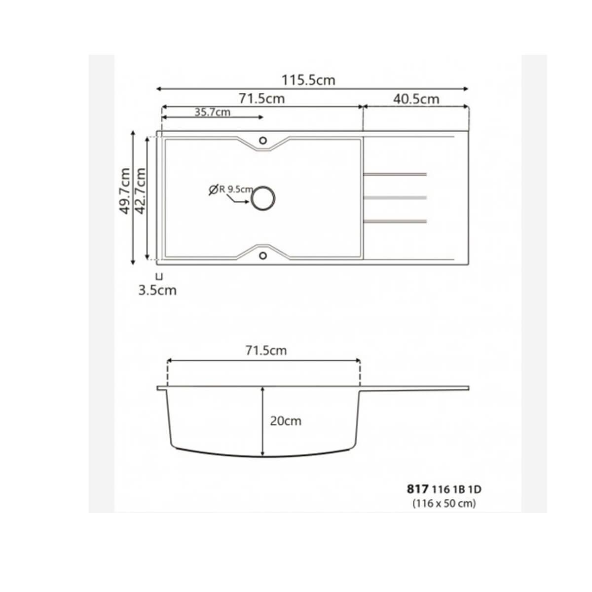 SANITEC ULTRA GRANITE No 817 1B 1D OCRA (116X50) 2